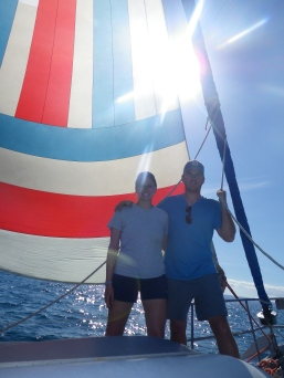 We put the downwind sail up.