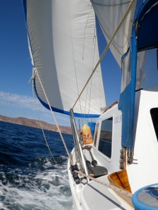 Cal 35 cruising boat under sail