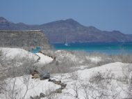 The well-defined hiking trail and our boat at Isla Coronados