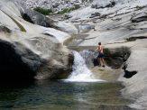 Tim climbing one of the waterfalls at Dinkey Pools.