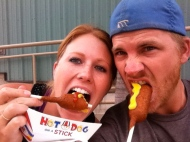 We went to the Orange County Fair in Newport, California. You must have a corn dog at the fair.