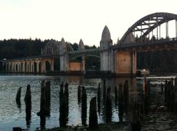 Sunset on the historic bridge.