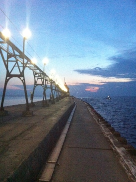 Walking the pier over Lake Michigan.