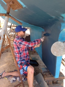 Painting boat bottom